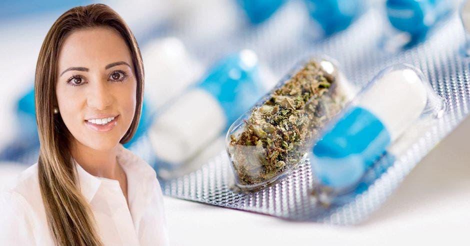 Mujer frente a cannabis de fondo