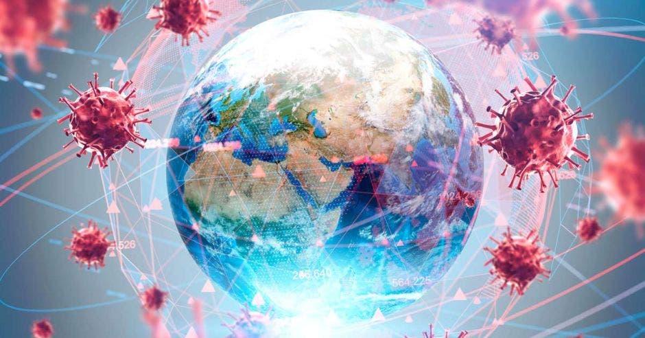 un globo terráqueo rodeado de virus