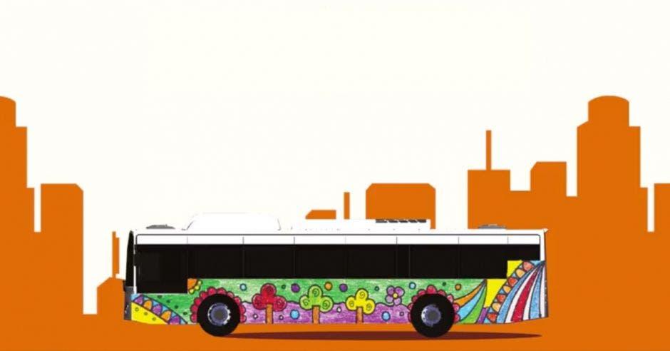 un bus multicolor sobre un fondo blanco con anaranjado