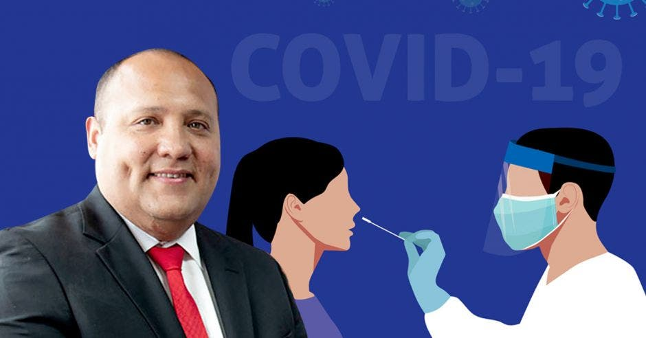 Mario Ruiz, gerente médico y una ilustración de personas haciendo una prueba de Covid-19