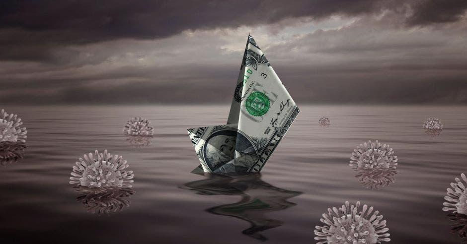 Billete de dólar hundiéndose en mar con covid