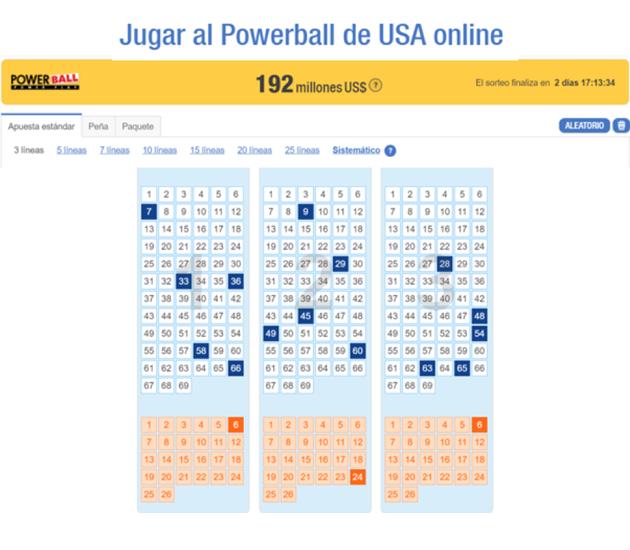Jugar powerball USA TheLotter