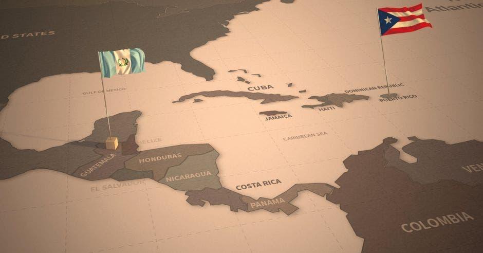 un mapa con Guatemala y Puerto Rico resaltados con el color de sus banderas