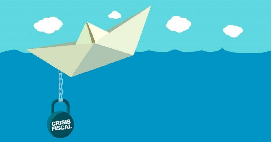 Un dibujo de un barco de papel hundiéndose con un ancla que dice crisis fiscal