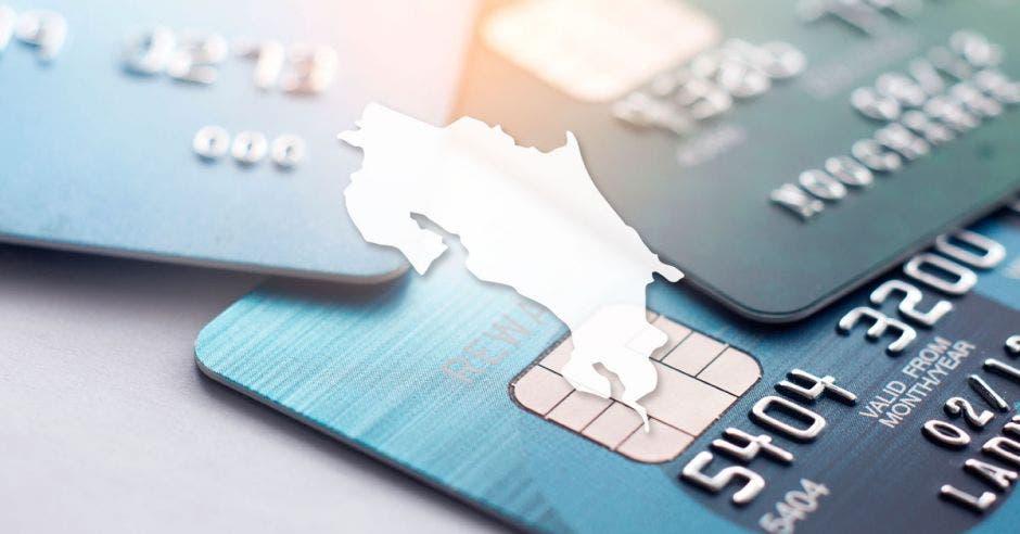 Tarjetas de crédito y mapa de Costa Rica