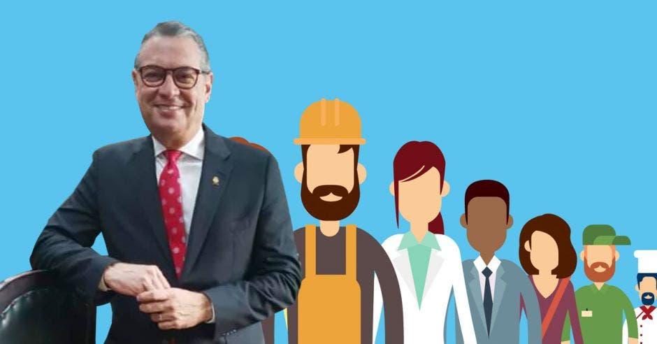 Hombre frente a dibujo de trabajadores