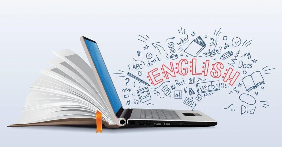 la palabra english sale en holograma desde una computadora