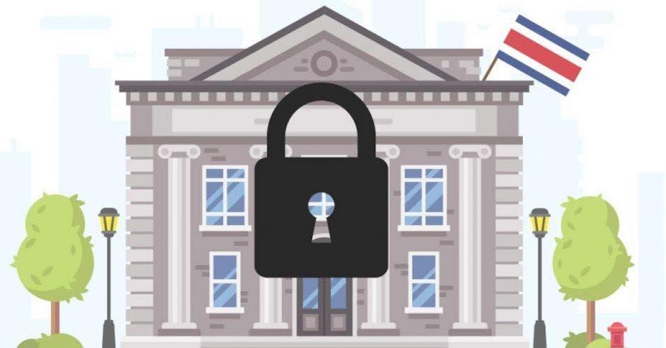 Dibujo de institución y candado cerrado