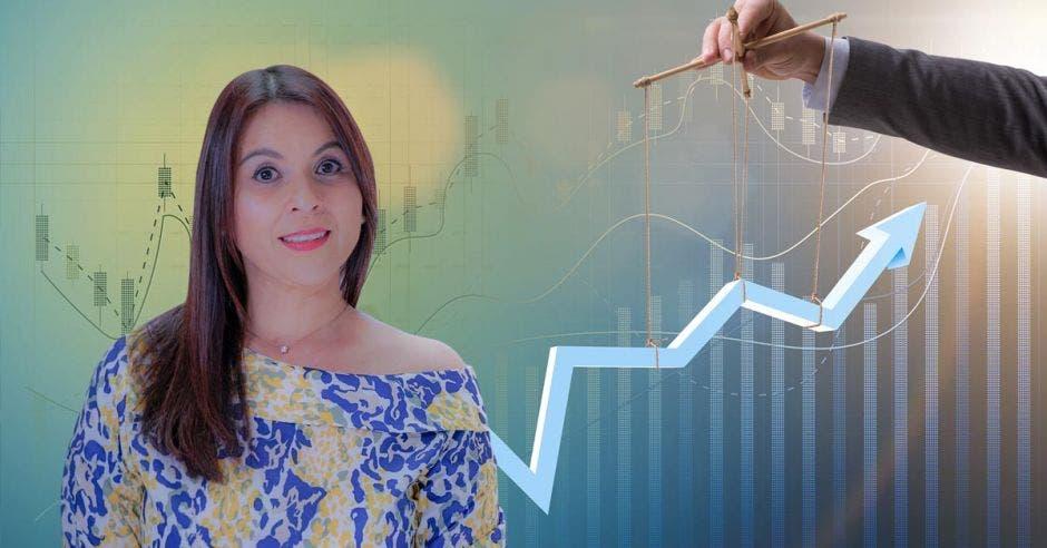 Mujer frente a persona usando gráfico como marioneta