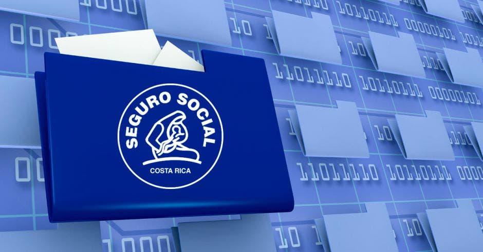 Un expediente digital y el logo de la Caja