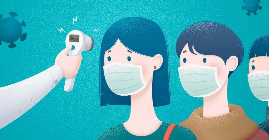 Un dibujo de dos personas con mascarilla a las que se les toma la temperatura