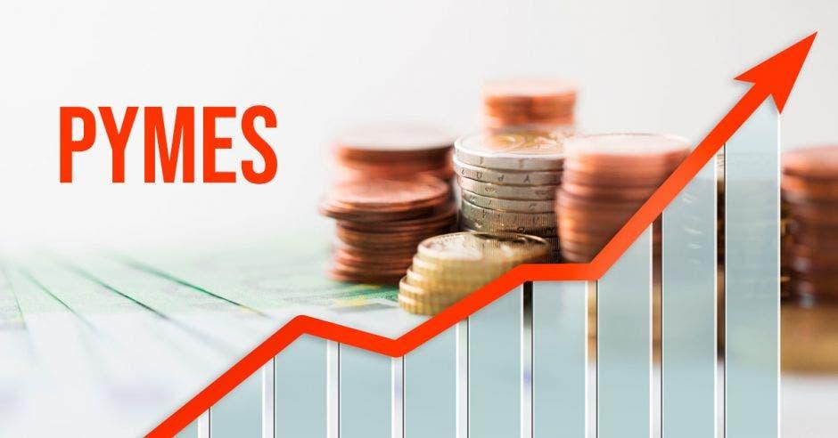 Monedas y gráfico hacia arriba