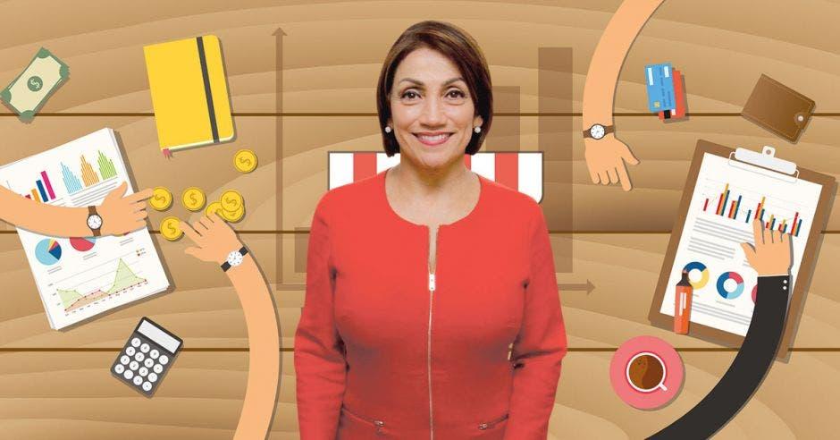 Victoria Hernández, ministra de Economía y un dibujo de una pyme al fondo