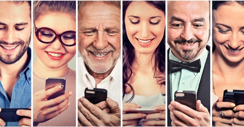 un grupo de personas usando un celular