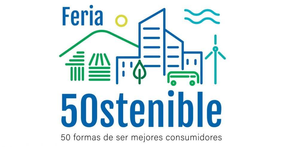 un logo que dice feria sostenible con el número 50 en letras azules y sobre un fondo blanco