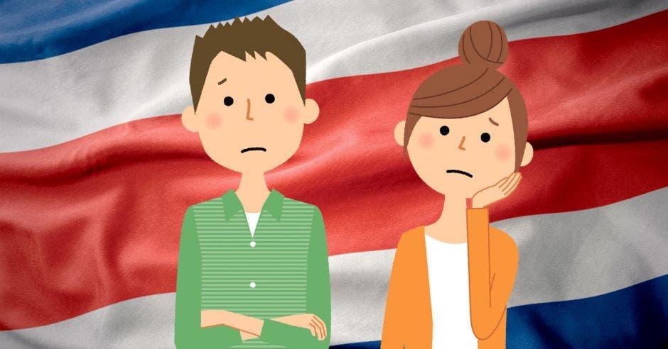 Dos personas preocupadas y la bandera de Costa Rica de fondo