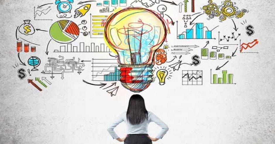 Una mujer frente a un dibujo que es un bombillo simulando una idea de negocio