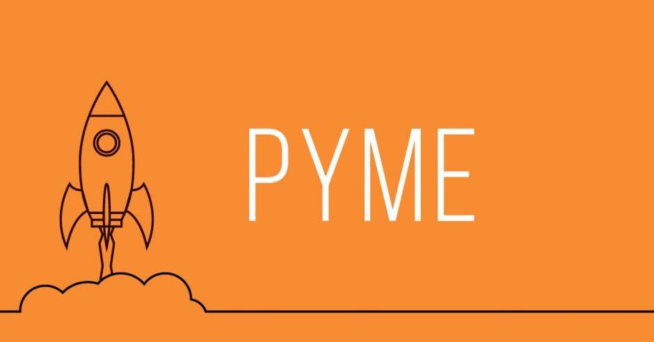 Un dibujo de un cohete y la palabra PYME