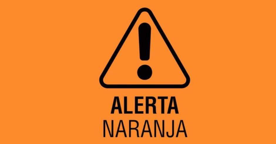 Señal de alerta que dice alerta naranja
