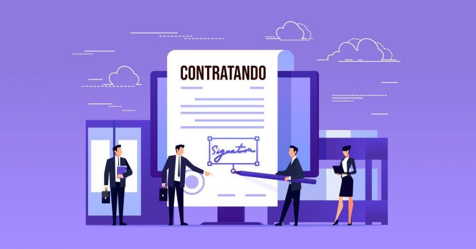 Un dibujo de un contrato laboral y dos personas firmándolo