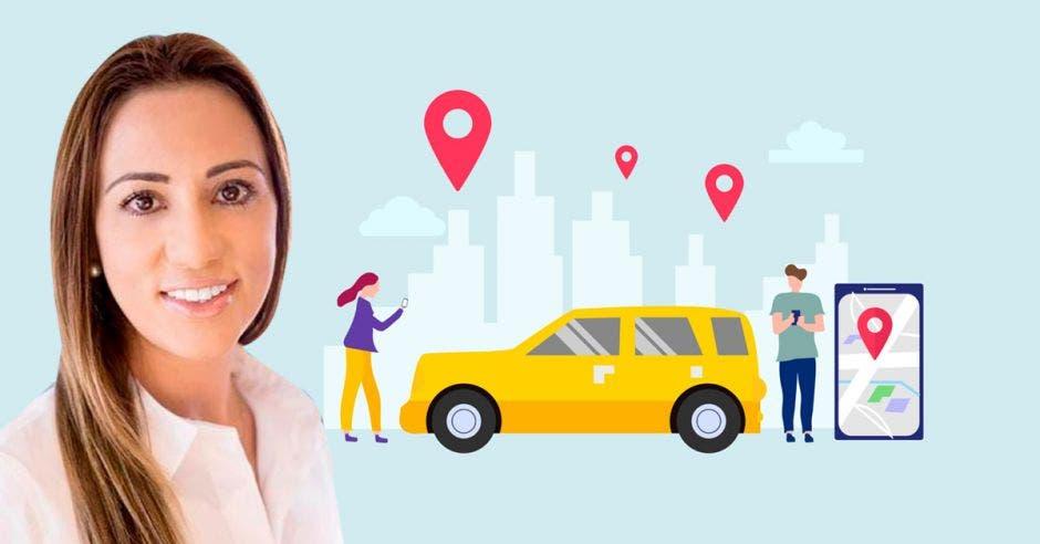 Mujer frente a dibujos de carro