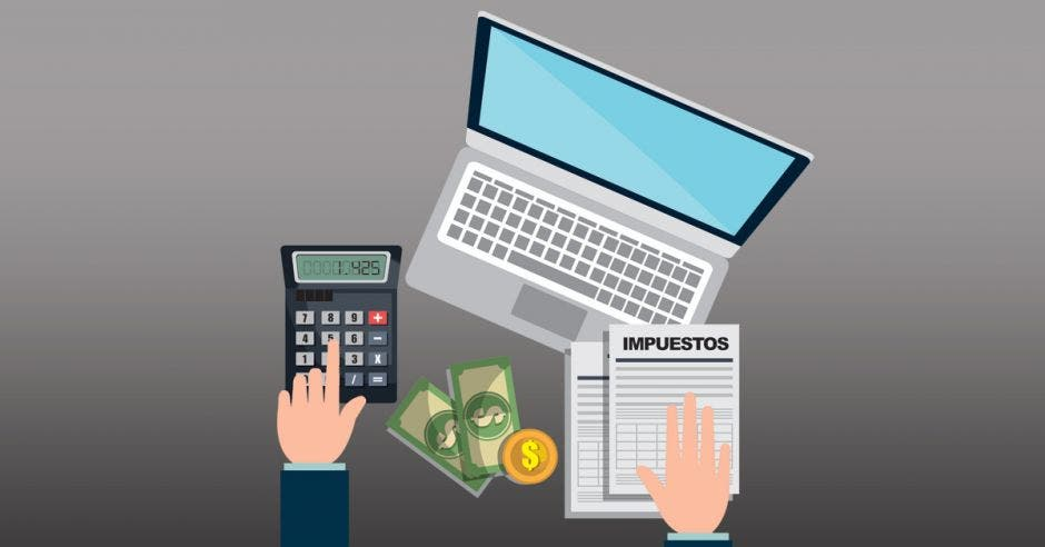Persona con calculadora, computadora y papeles que dicen impuestos, todo en dibujo