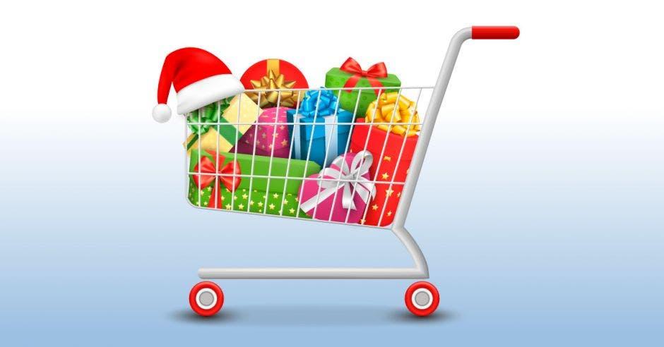 carrito de compras con regalos navideños