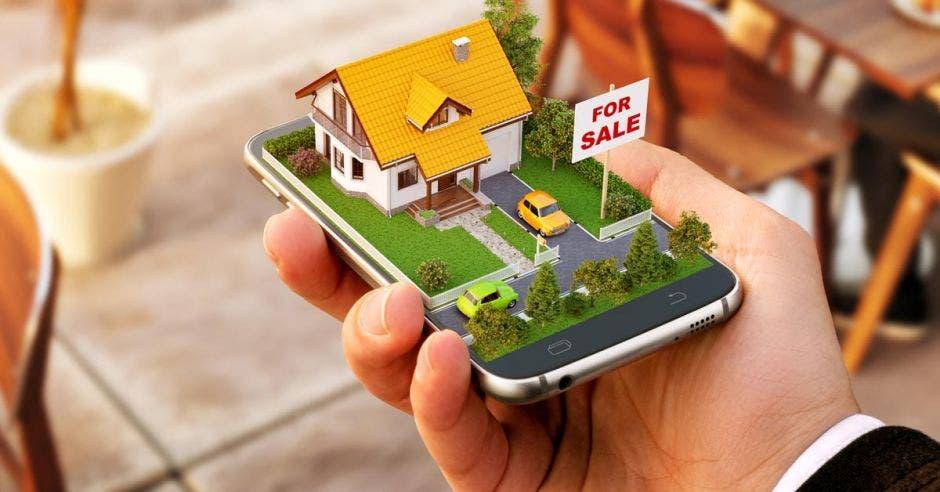 casa en venta sobre un celular