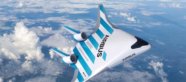 un avión en forma de v con ribetes celestes