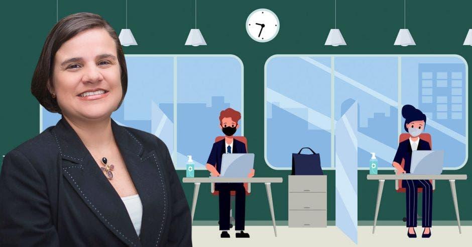 Lupita Quintero y un dibujo de una oficina con distanciamiento social