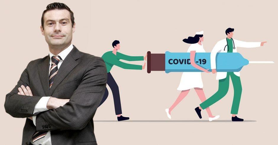 Massimo Manzi, director ejecutivo de la Cámara Costarricense de la Salud, y de fondo un dibujo de personal de salud llevando una vacuna que dice Covid-19
