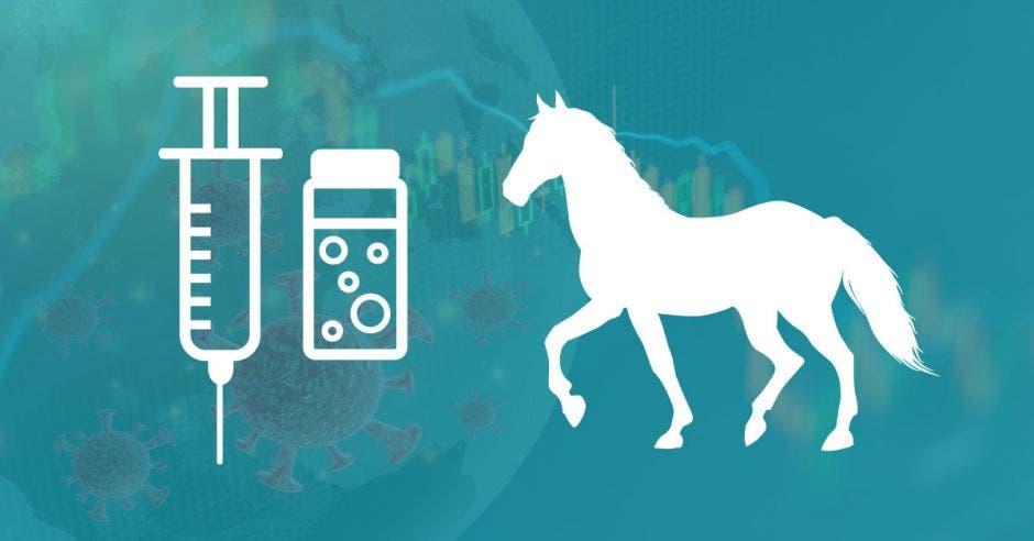 Un dibujo de una jeringa, una dosis y un caballo