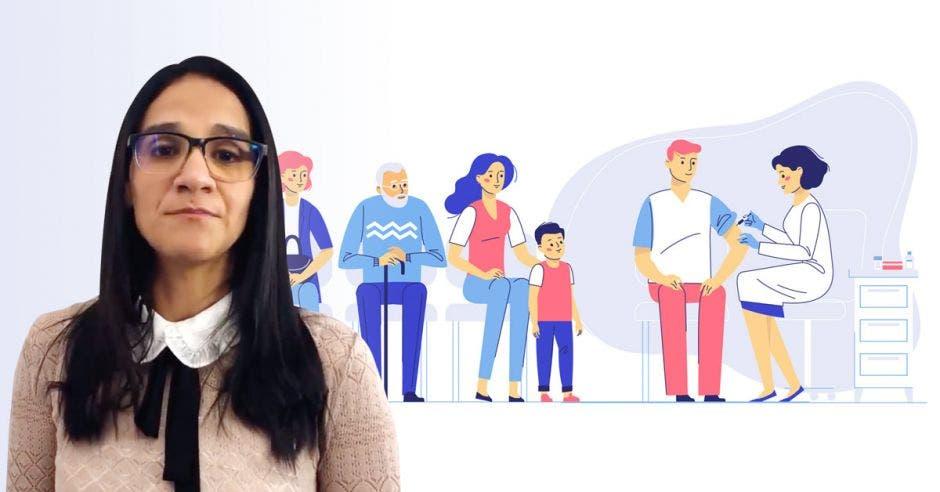 Leandra Abarca y un dibujo de personas haciendo fila por una vacuna