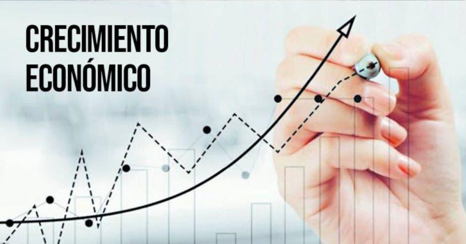 gráfica en ascenso con la frase Crecimiento económico
