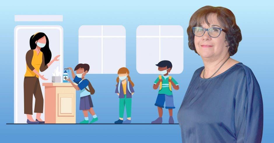 Guiselle Cruz, ministra de Educación y un dibujo de una docente con niños con mascarillas y distanciamiento social