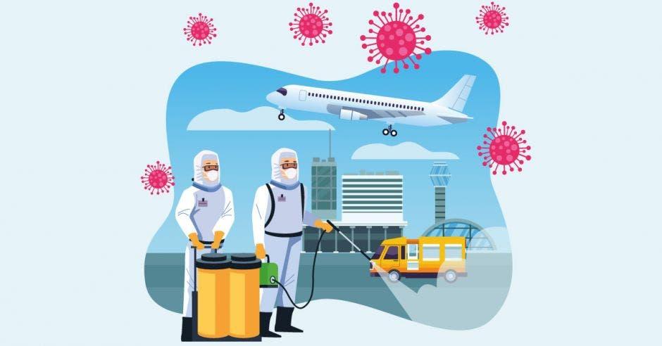 Un dibujo de dos personas desinfectando un aeropuerto
