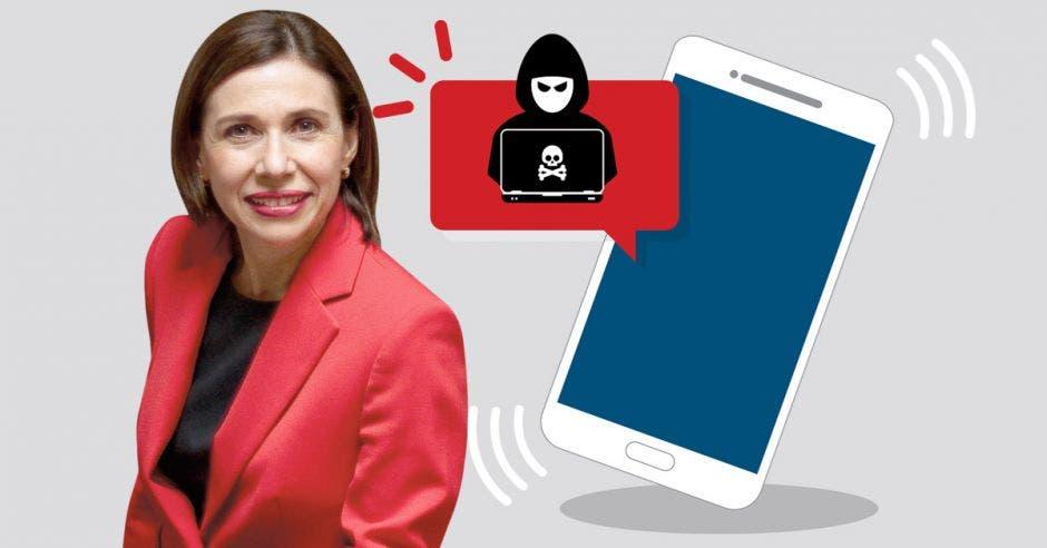 foto de mujer junto a dibujo de muñeco vestido de negro junto a un celular