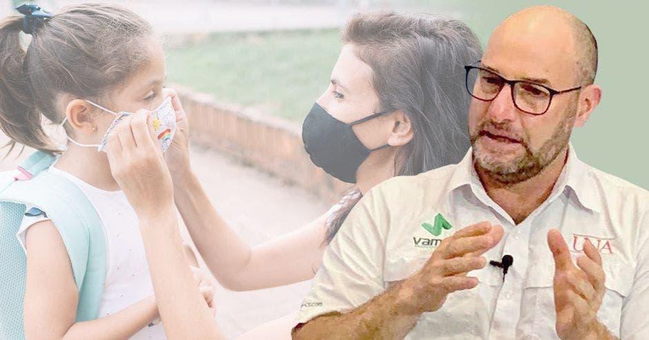 Juan José Romero, coordinador de la Maestría en Epidemiología de la Universidad Nacional (UNA) y de fondo una madre preparando a su hija para la escuela