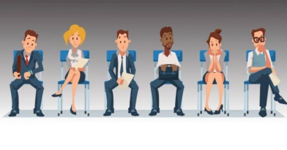 Dibujo de personas sentadas esperando una entrevista de trabajo