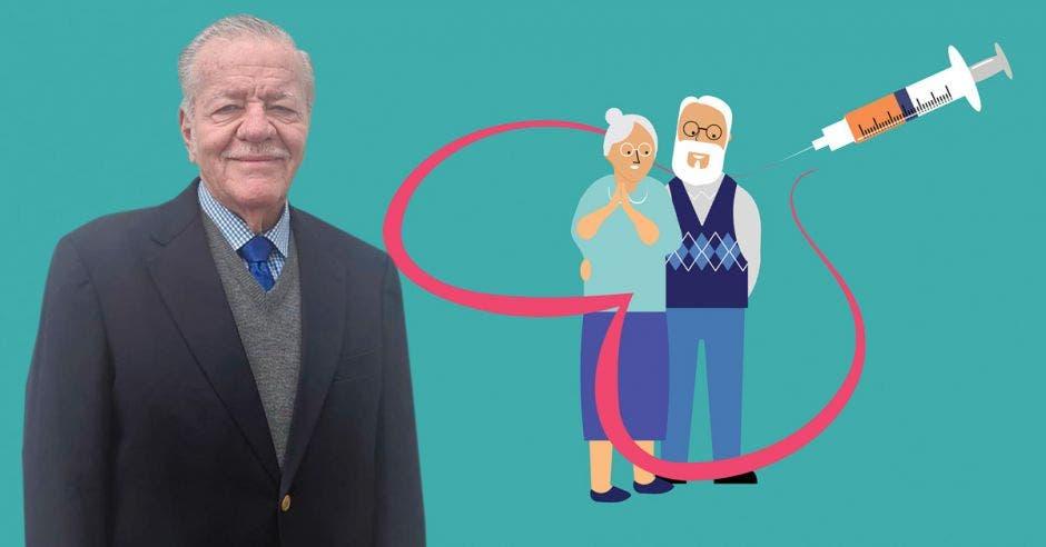 Ronald Evans y un dibujo de dos adultos mayores recibiendo una dosis