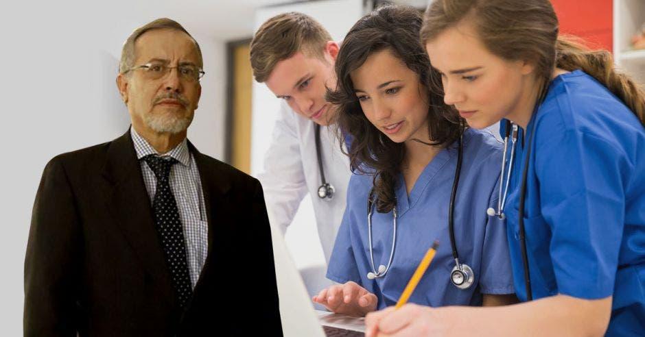 Luis Carlos Pastor y una imagen de unos médicos en formación