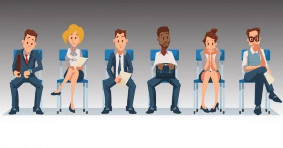 dibujo de personas sentadas con traje