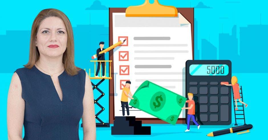 Mujer frente a dinero, tabla y calculadora en dibujo
