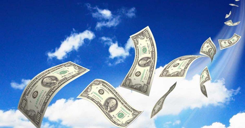 Billetes de dólar por los aires