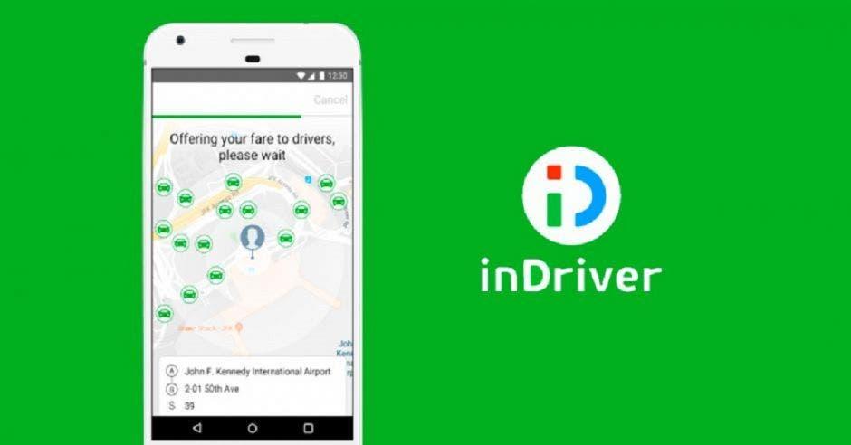InDriver en fondo verde junto a un celular