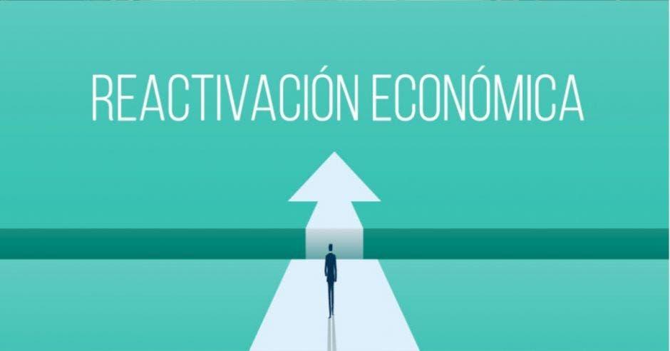 palabra reactivación económica sobre fondo aqua y un muñeco caminando hacia una flecha
