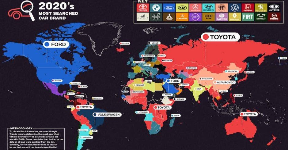 mapa que muestra la búsqueda de marcas de carros