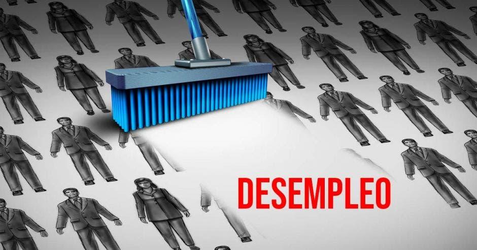 Una escoba barriendo figuras de personas y la palabra desempleo