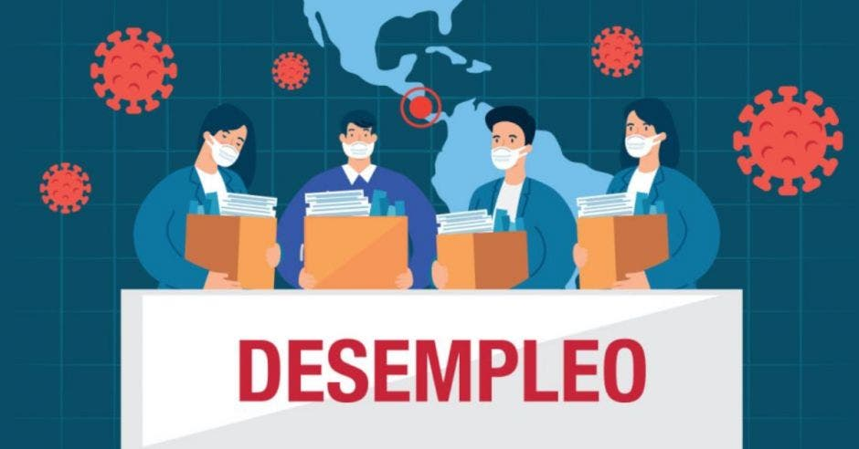 dibujo de personas con cubrebocas cargando cajas con la palabra DESEMPLEO