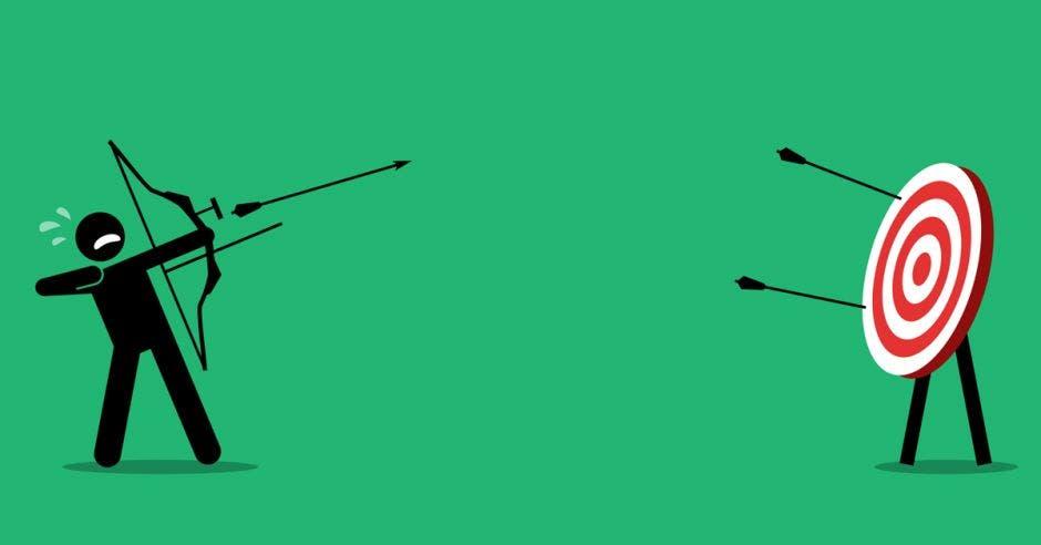 fondo verde y dibujo de muñeco con arco y flecha apuntando al objetivo